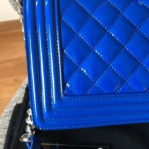CHANEL Bags - Chanel le boy medium blue patent